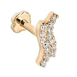 Maria Black Piercing diamond Double Wave labret or jaune 14k stud