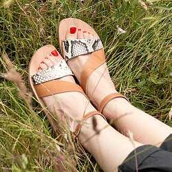 Massalia sandales Aphrodite cuir snake et naturel made in France
