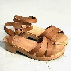 Massalia sandales sabots Atena cuir naturel semelle bois