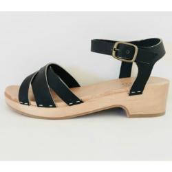 Massalia sandales sabots Atena cuir noir semelle bois