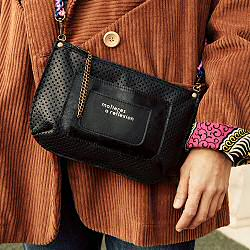 Pochette Anna Two cuir perfore bandouliere chaine