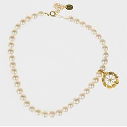Medecine Douce boucle collier Verone perle nacre dore