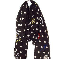Mii foulard coton noir brod� main tiss� main