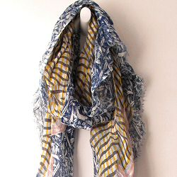 Mii foulard Froiss� jaune bleu rose
