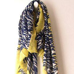 Mii foulard Grass jaune bleu laine & soie