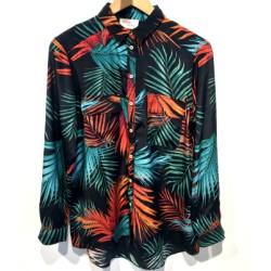 My Sunday Morning chemise soie Kindness imprimé palmier