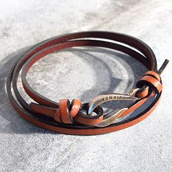 Orner Bracelet cuir caramel laiton