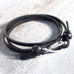 Orner Bracelet cuir noir Argent 925