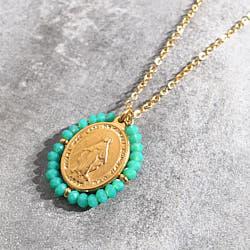 Facy Palas collier medaille Santa pierres turquoise Aqua