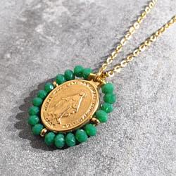 Facy Palas collier medaille Santa pierres vert emeraude