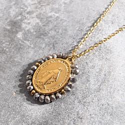 Facy Palas collier medaille Santa pierres hematites silver