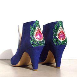 Patricia Blanchet boots Gwynette daim bleu vif