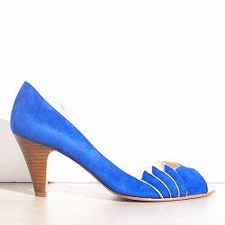 Patricia Blanchet escarpins Gaby daim bleu électrique