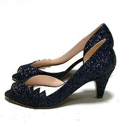Patricia Blanchet escarpins Gaby glitter bleu nuit