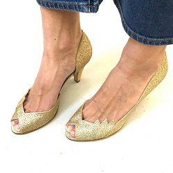 Patricia Blanchet escarpins Gaby gold glitter