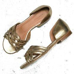 Rivecour sandales 34 gold cuir craquelé tressé