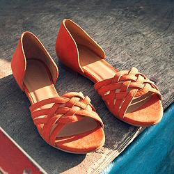 Rivecour sandales 34 daim orange tressé