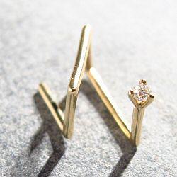 Sansoeurs boucle solo diamant or jaune 18k Big Z 4 griffes