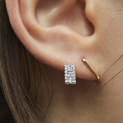 Sansoeurs boucle solo diamant or jaune 18k Plaque pavé