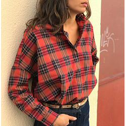 Sessun chemise DELIMA massablue carreaux rouge