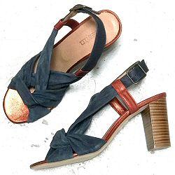 Sessun sandales Maab métallisés rouille et bleu