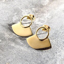 Soko boucles mini-Paddle laiton recycle plaque or