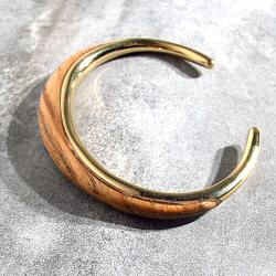 Soko bracelet Sabi Outline Wood laiton recycle plaque or