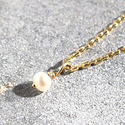 Stalactite Or 18k collier Mini perle de nacre or jaune