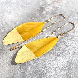 Stalactite boucles plume jaune moutarde Squaw