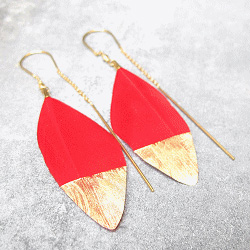Stalactite boucles plume rouge Squaw