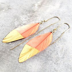 Stalactite boucles plume rose corail Squaw