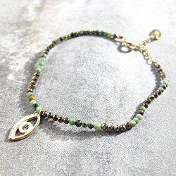 Stalactite - EYE - Bracelet grigri - turquoise & pyrite - Vermeil