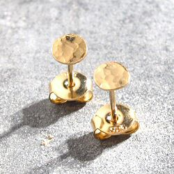 Stalactite studs mini sequin martelle vermeil made in France