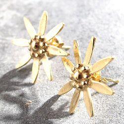 Stalactite boucles fleur Edelweiss vermeil