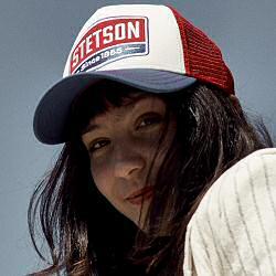 Stetson casquette Trucker cap Gasoline marine blanc rouge