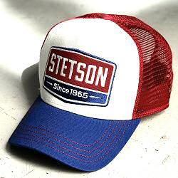 Stetson casquette homme Trucker cap Gasoline marine blanc rouge