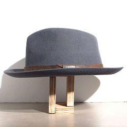 Stetson chapeau Fedora gris feutre furflet galon cuir marron