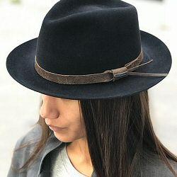 Stetson chapeau Fedora noir feutre furflet galon cuir marron