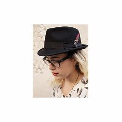Stetson chapeau trilby noir plume galon noir Richmond
