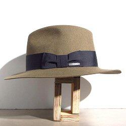 Stetson chapeau Iona taupe galon noir feutre furfelt