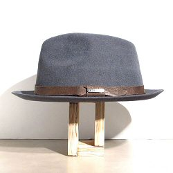 Stetson chapeau homme Player gris feutre furflet galon cuir marron