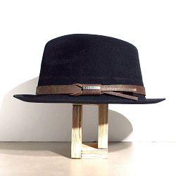 Stetson chapeau homme Player noir feutre furflet galon cuir marron