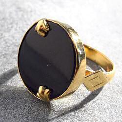 Vadi bague Posidonie onyx noir argent plaque or