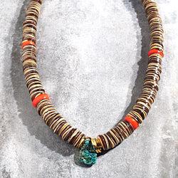 Vadi collier Paia brown et turquoise
