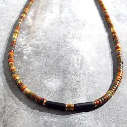Vadi collier perles Jaspe brun & onyx Sankar
