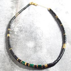 Vadi collier perles Onyx & Malachite Sankar