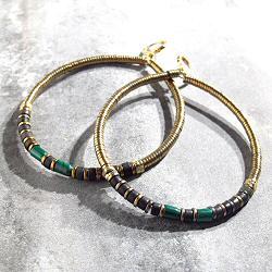 Vadi creoles perles Onyx noir & Malachite Sankar