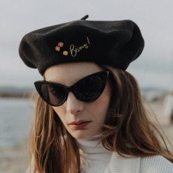 Van Palma beret noir Gloria brode