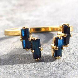 Viveka Bergstrom bague 4XS cristal bleu / doré