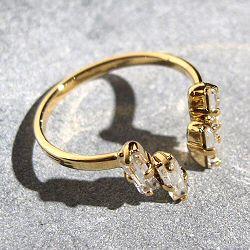 Viveka Bergstrom bague 4XS cristal clear / doré